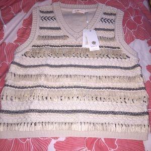 Tory Burch Knit Sweater Vest Fringe Festival Tasse